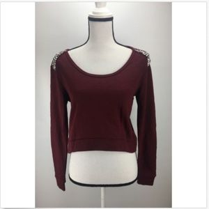 H.I.P. Knit Sweater Top XS Small Crop Embellished
